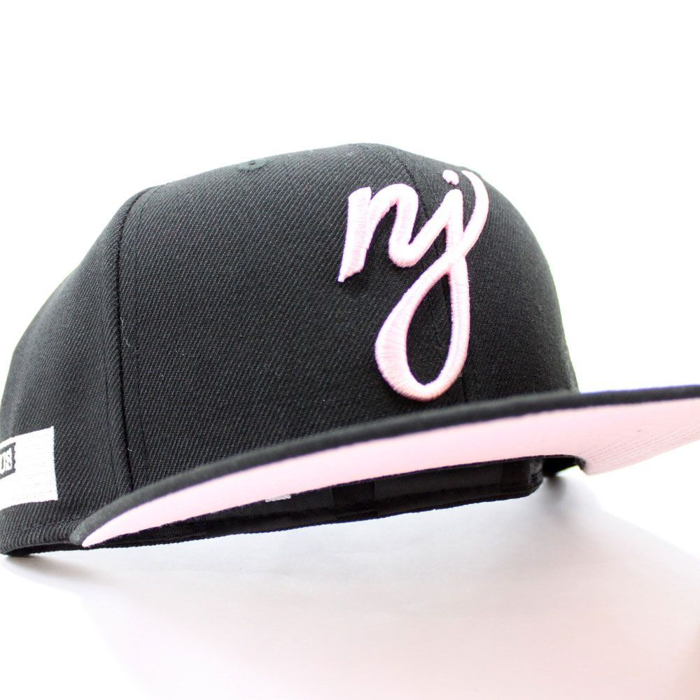 Nj Script 59fifty Fitted Newerahat In Black Pinkunderbrim Ecapcity Fitted Hats New Era 59fifty New Era