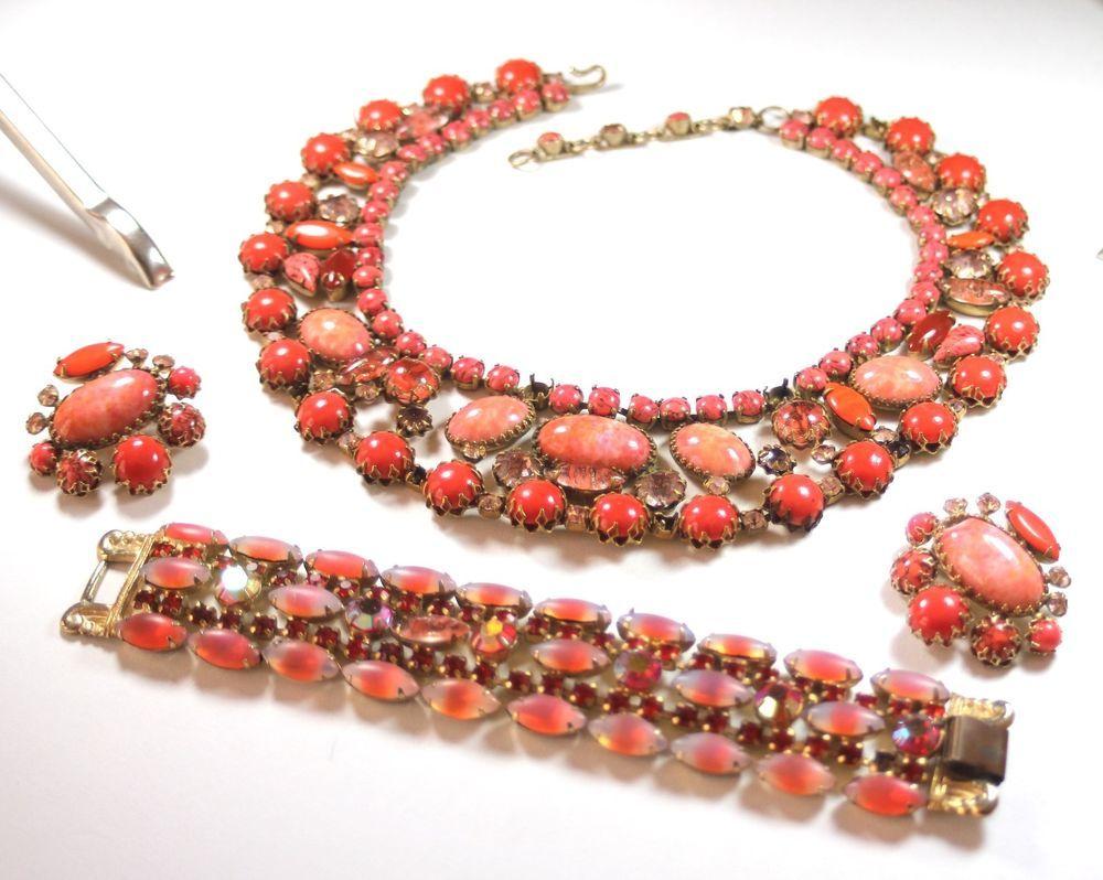 Vintage rhinestone encrusted necklace bracelet earrings set orange
