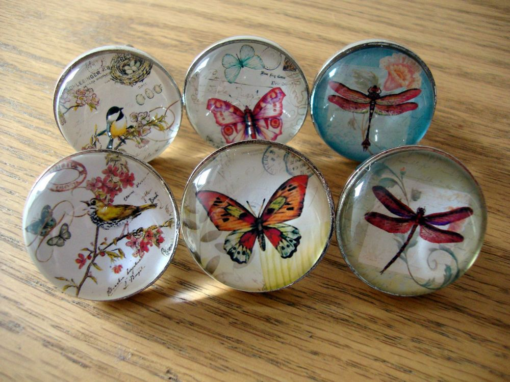 Vintage Style Drawer Knobs, Bird Butterfly Dragonfly, Cupboard Door ...