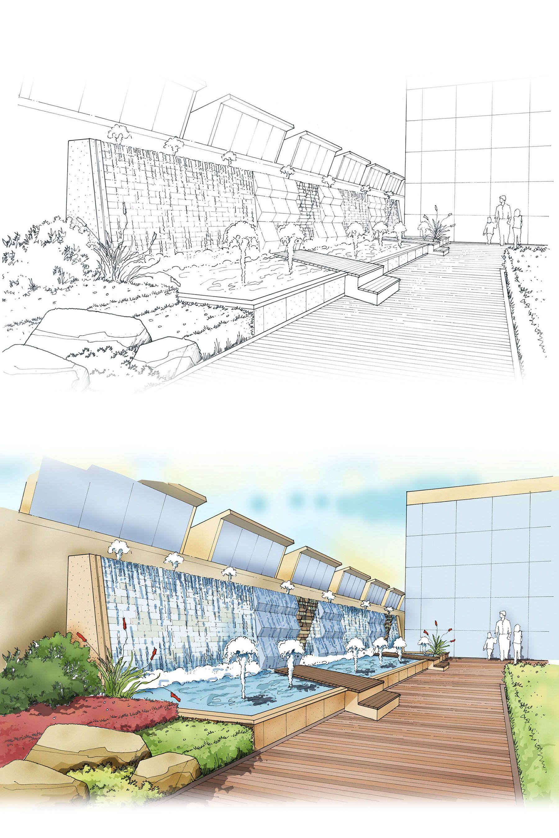 Perspective View Of Rooftop Garden Landscape Design Pen And Digital Media Rooftop Garden Landscape Design Landscape Concept