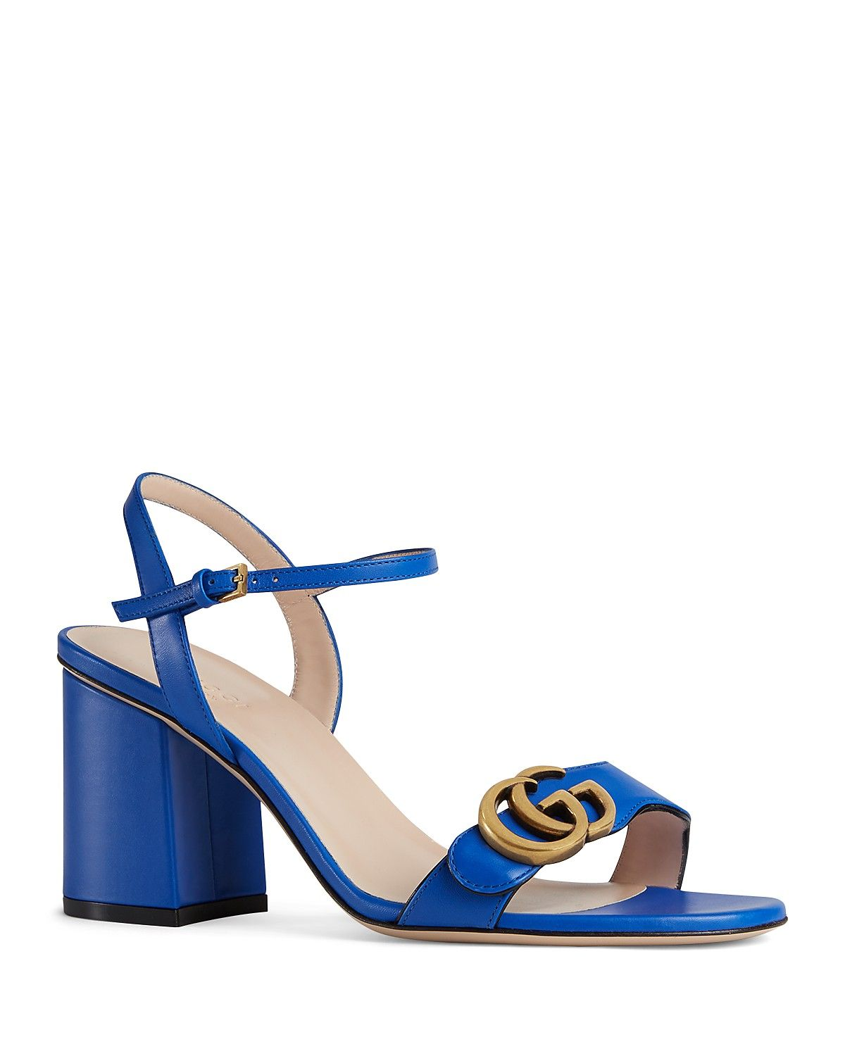Marmont Leather Mid-Heel Sandals Gucci