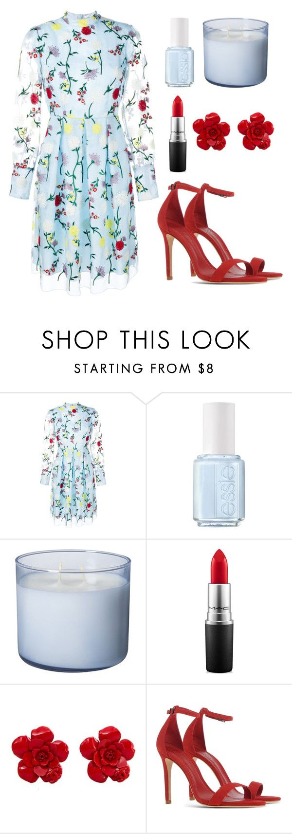 """""""Red Roses, Red Kisses"""" by nuetralvibe ❤ liked on Polyvore featuring Erdem, Essie, MAC Cosmetics, Chanel and Schutz"""