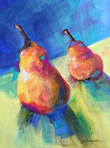 Tipsy Pears by Joan Langdon in the FASO Daily Art Show