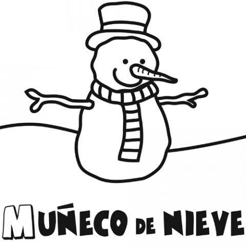 Dibujo para colorear de un mueco de nieve Dibujo de invierno