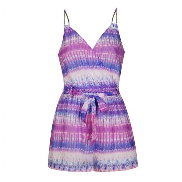 248080ead9 Ally Fashion Tie dye stripe wrap playsuit ( 30) ❤ liked on Polyvore  featuring jumpsuits