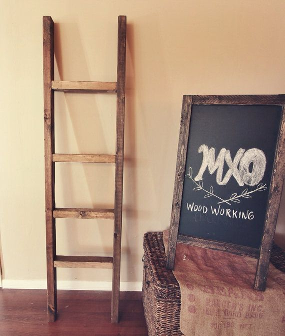 Large Rustic Reclaimed Wood Blanket ladder 60X16 by MXOwoodworking, $45.00 - Large Rustic Reclaimed Wood Blanket Ladder 60X16 By MXOwoodworking