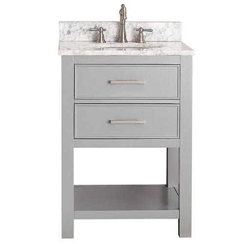 Avanity Brooks Chilled Gray 24 Inch Vanity Combo With Carrera White Marble Top Brooks Vs24 Cg C Bellacor In 2020 Single Bathroom Vanity 24 Inch Vanity Bathroom Vanity Combo