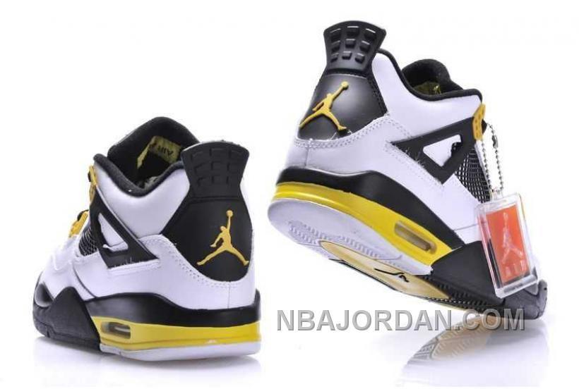 0f9744c06cc4 Nike Air Jordan 4 Mens White Black Yellow Shoes in 2018