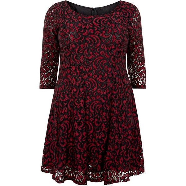 Samya Burgundy Lace Paisley Print Skater Dress (£45) ❤ liked on Polyvore featuring dresses, lace dress, 3/4 sleeve lace dress, 3/4 sleeve skater dress, lace skater dress and skater dress