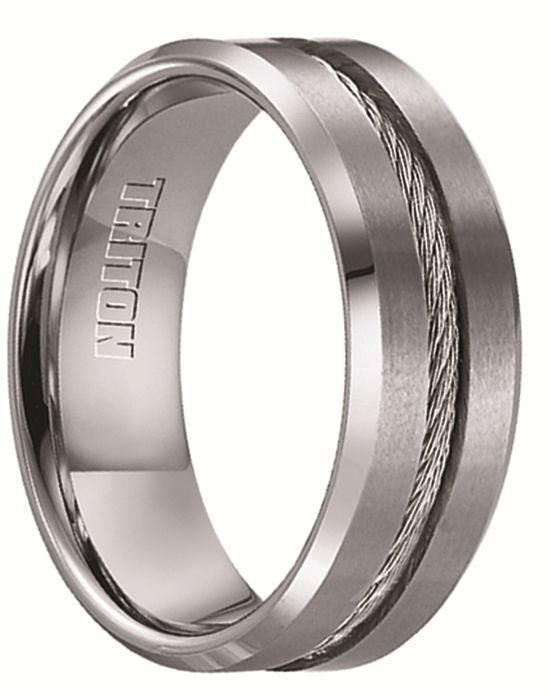b7512afd4de6 Larson Jewelers CURTIS Tungsten Wedding Band with Steel Cable Inlay by  Triton Rings - 8 mm Wedding Ring photo