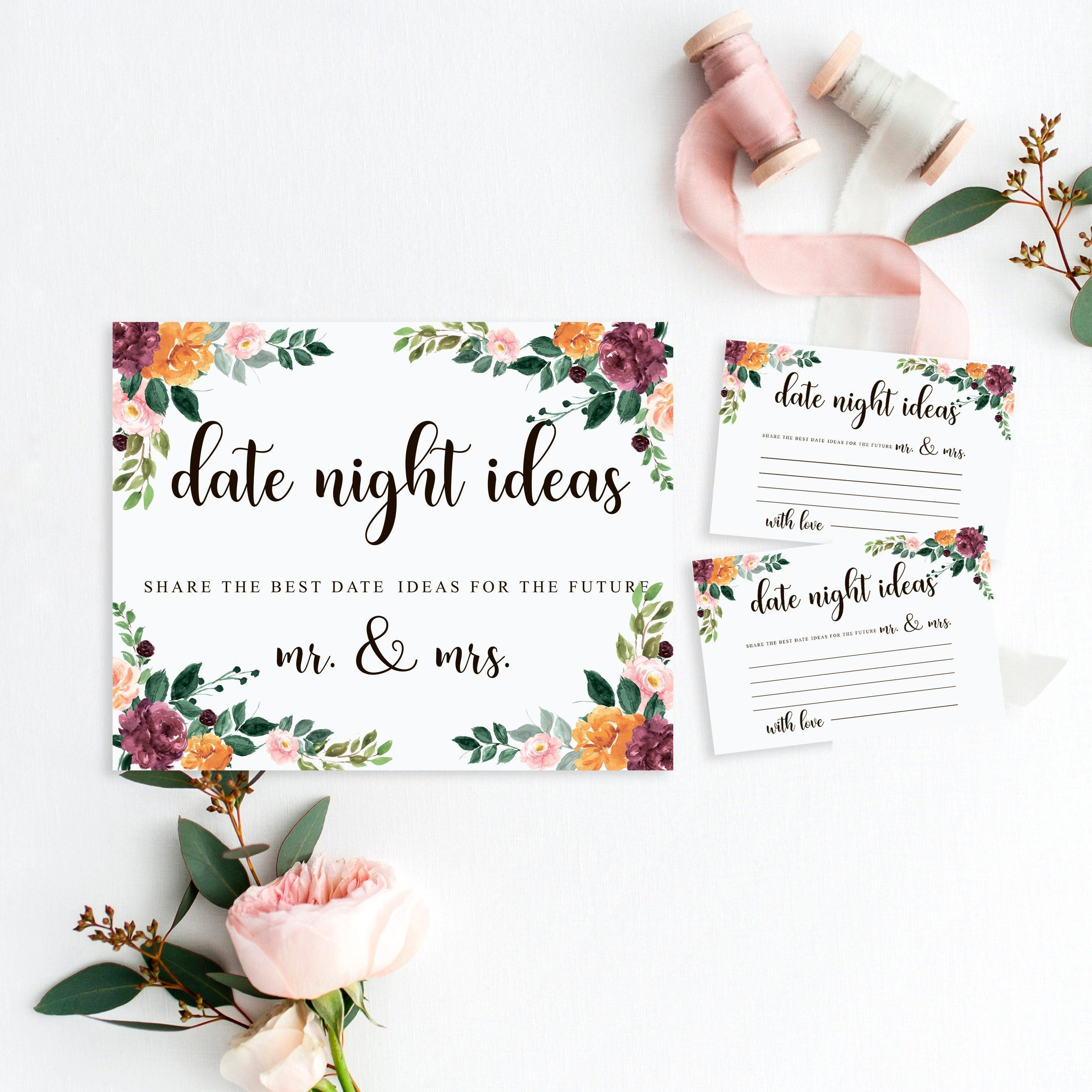 Date Night Ideas Cards For Wedding Shower Or Anniversary Party Date Night Date Nights Cards Date Bridal Shower Activities Wedding Shower Bridal Shower Games