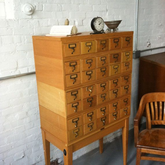 35 Drawer Library Index Card File Cabinet  Furniture