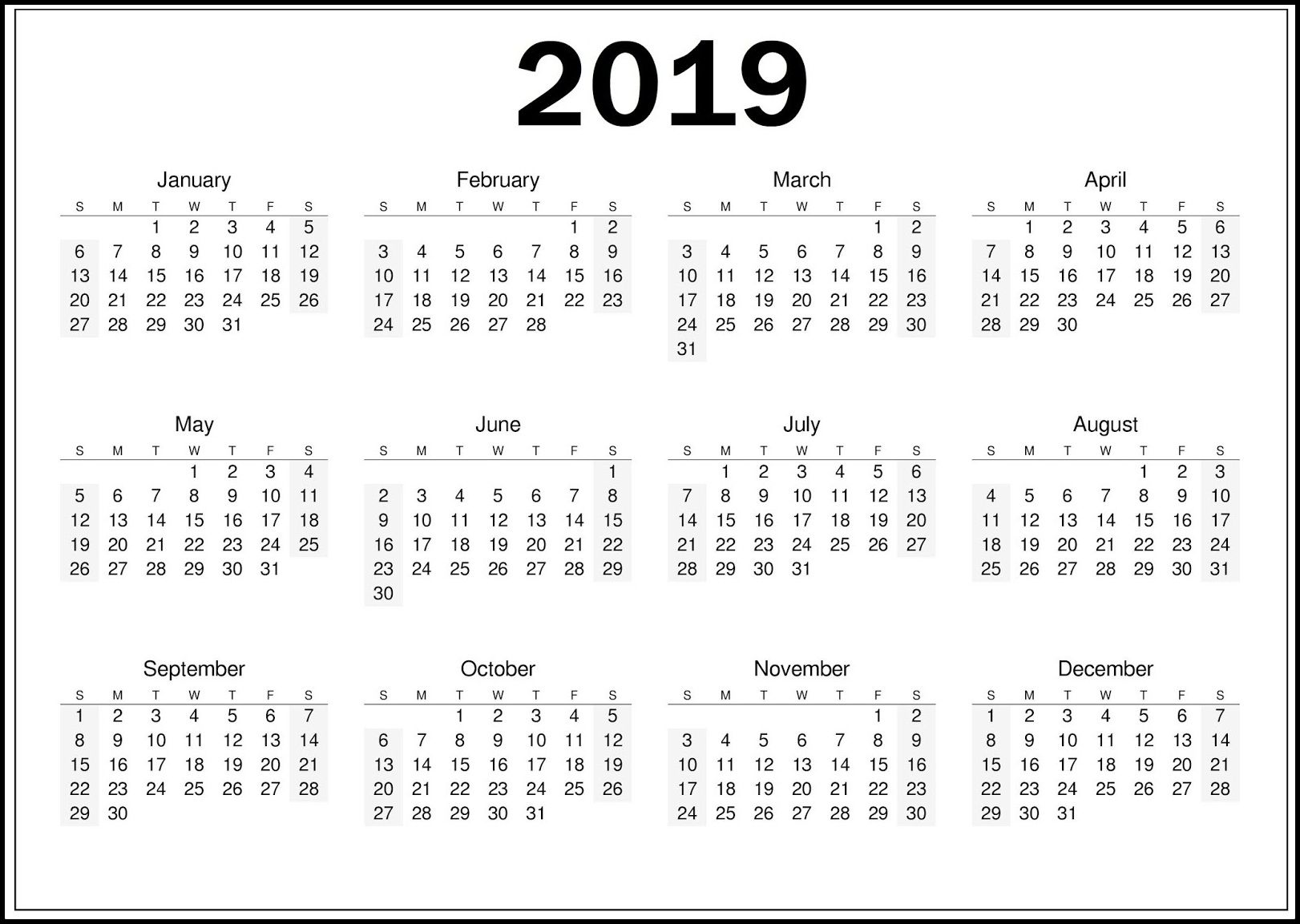 Printable Yearly Printable 2019 Calendar Pdf Template Calendar