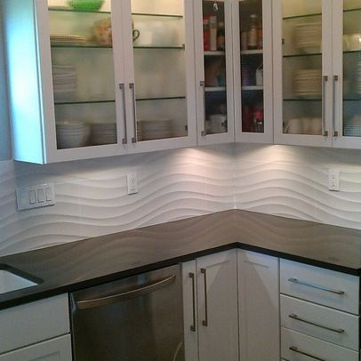 White Linear Wave Tile Kitchen Backsplash And Shower Wall With