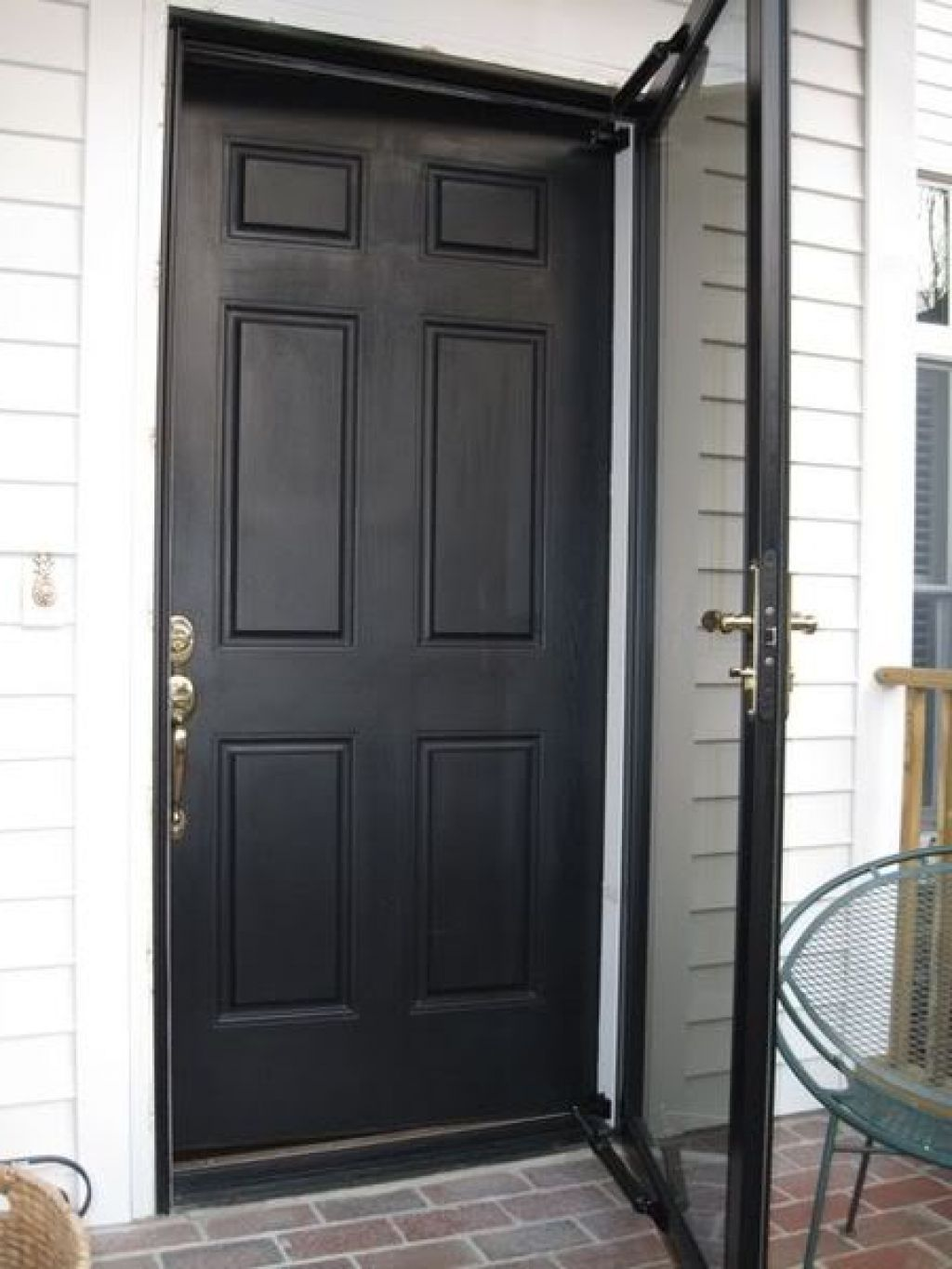 Black Front Door With Black Storm Door And Using Dark Screen For The Cover Also Using Door Spring For Reinforcement With Images Black Front Doors Black Exterior Doors Storm Door
