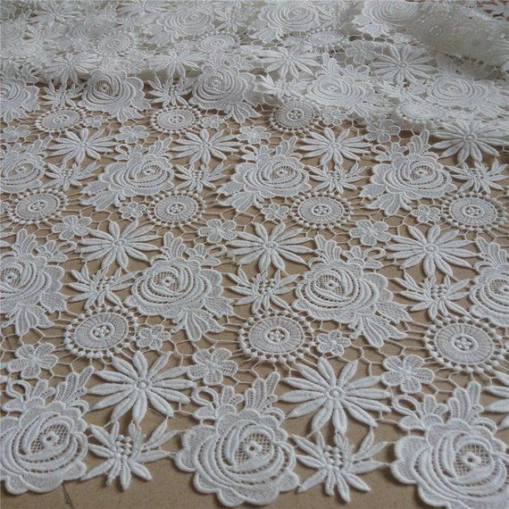 Wedding Lace Fabric Floral Bridal Lace Fabric Fashion 2 Yards Guipure Embroidery