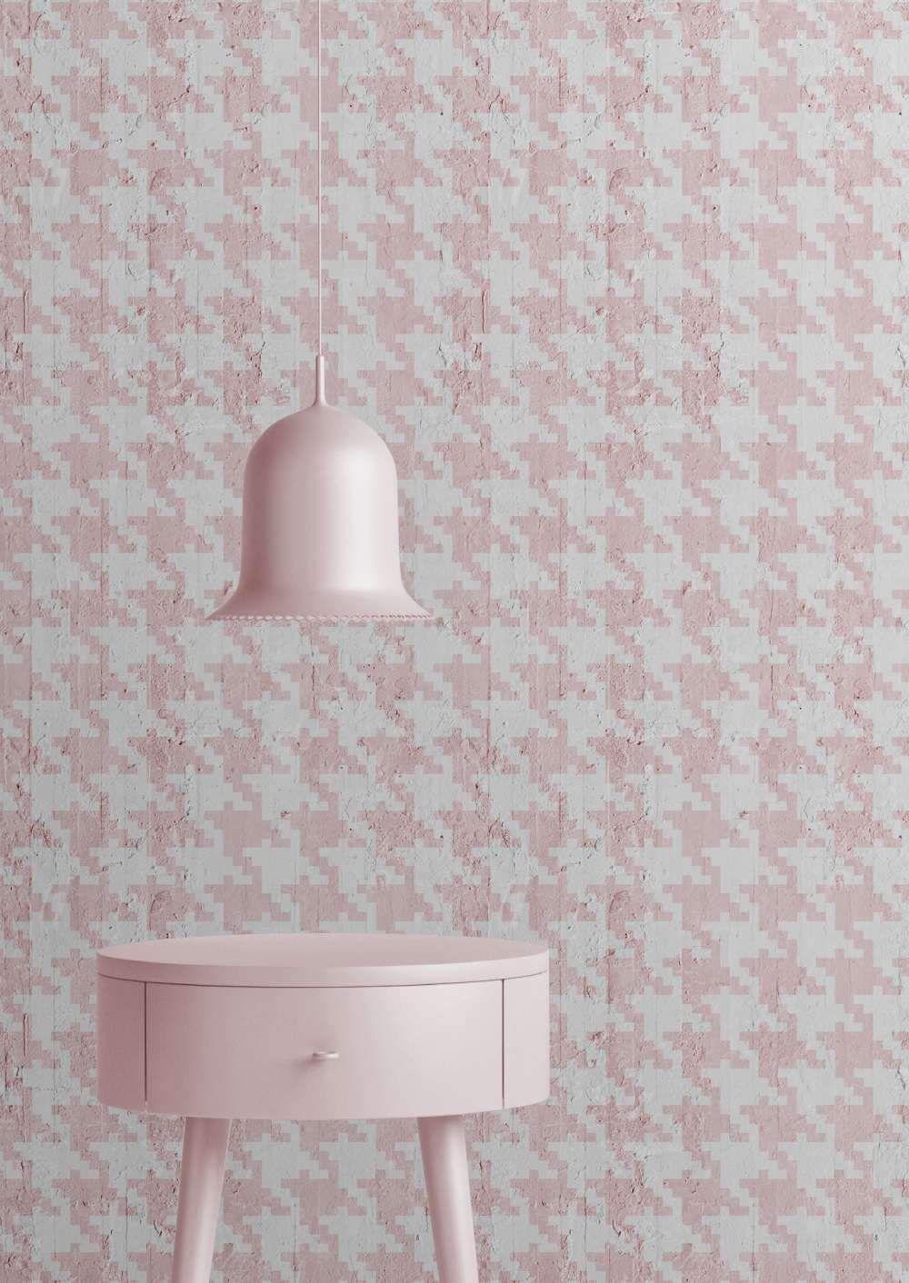 Pink Pied De Poule Wallpaper Mineheart Lime Lace Loves