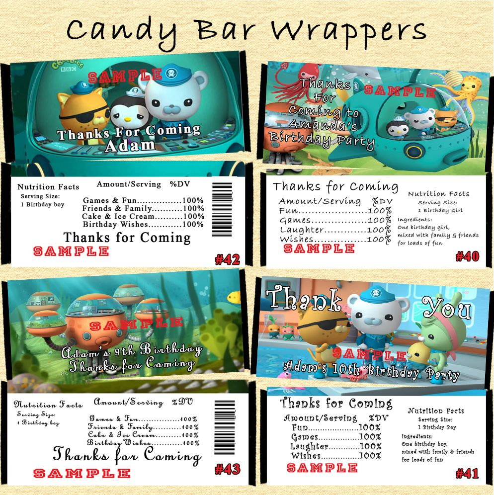 Octonauts Birthday Candy Wrappers 10 Ea Personalized Custom Made Birthday Candy Wrappers Octonauts Birthday Wrappers