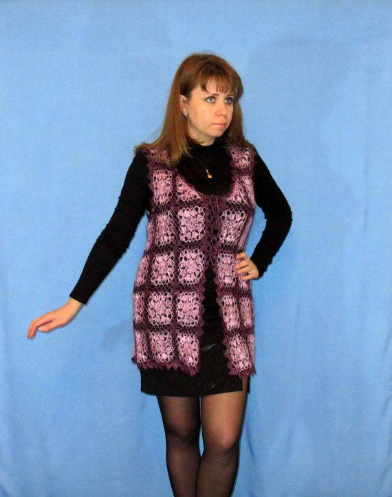 Hand knit vest, Goat down vest, Crochet vest, Wool vest, Handmade vest,Waistcoat,Crochet top,Crochet blouse,Crochet jacket,100% Natural