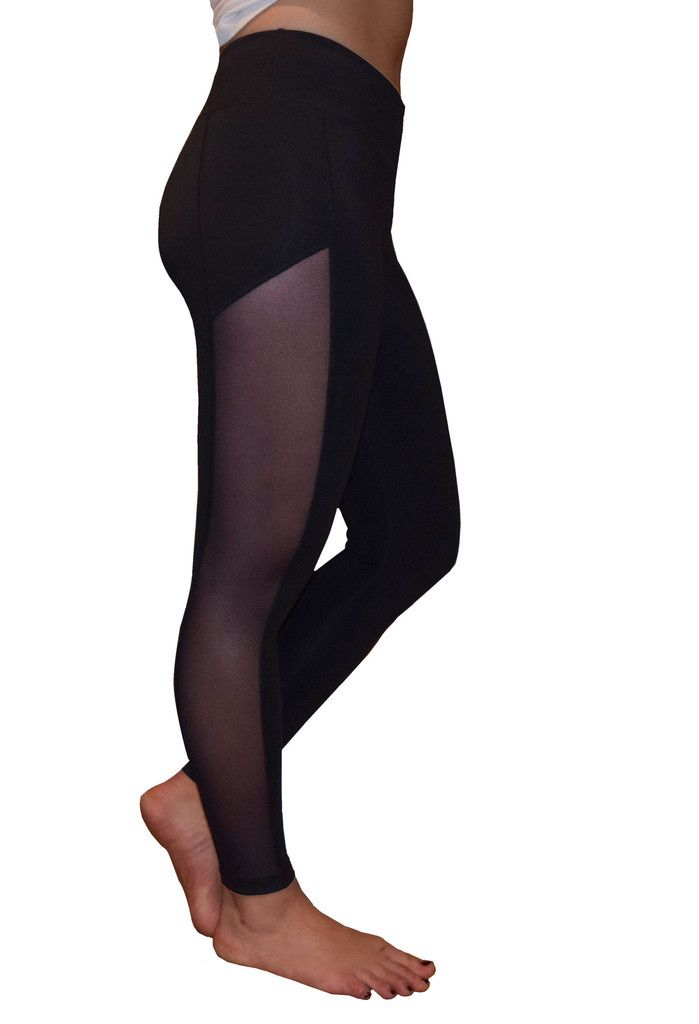 Kristen Mesh Yoga Pants (Black) | Mesh yoga pants and Side panels