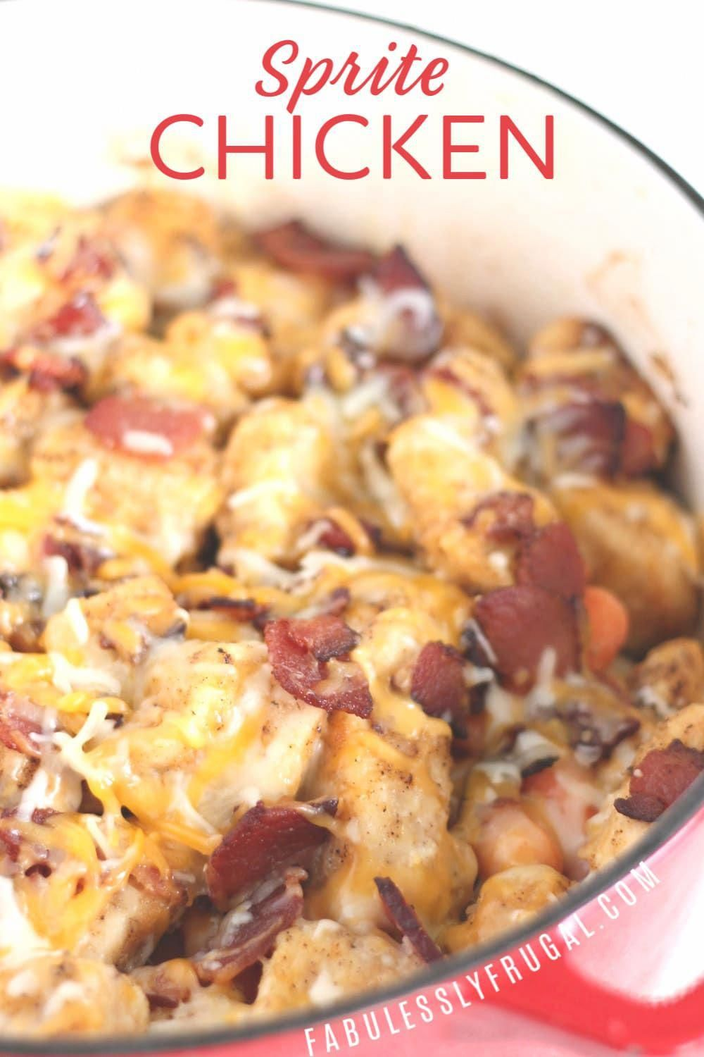 I love it when camping season rolls around. There is  nothing like the taste of campfire cooking. This is another fabulous campfire cooking recipe using dutch ovens from my friend Ryan. Of course, it can also be made in a dutch oven in your home oven too! #chicken #bacon #spritechicken #dutchoven #campfirecooking #recipe #feedacrowd #recipesilove