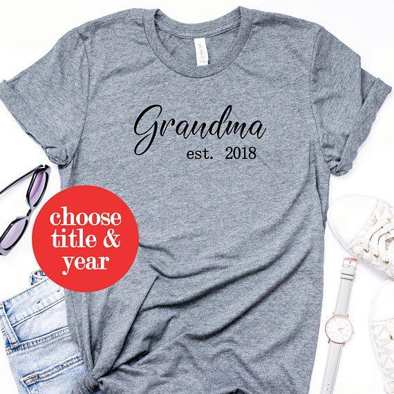 b66d4f29 Grandma Shirt - Pregnancy Announcement Grandparent - Grandma Est. 2018 -  Grandma Mother's Day