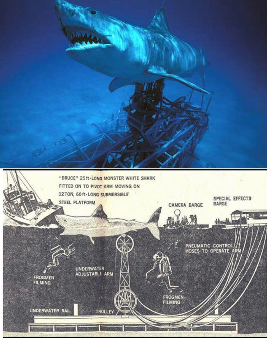 this brilliant diagram shows the rig used to bring brucetheshark to life  [ 938 x 1186 Pixel ]