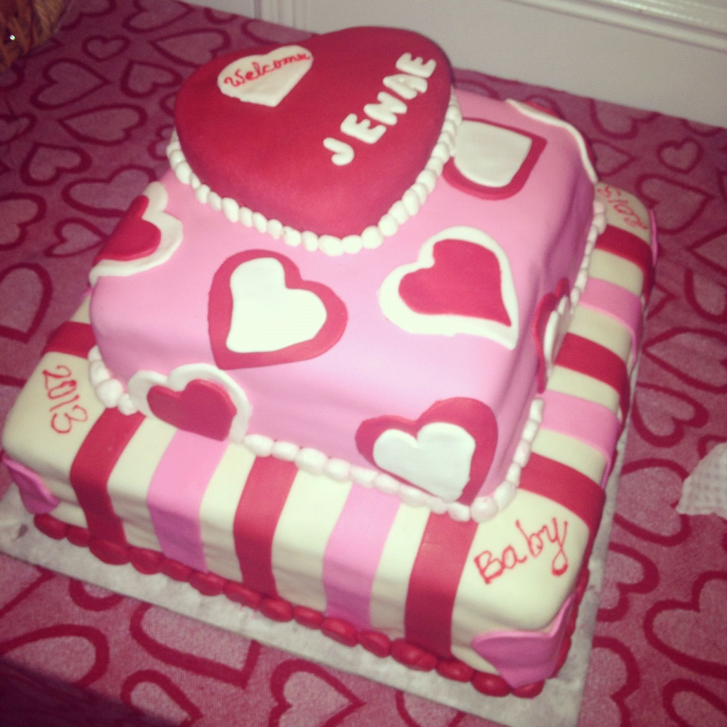 Valentines Day Theme Baby Shower Cake Sweets Pinterest Baby