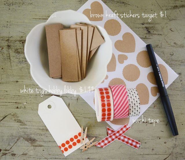 washi tape on white tags