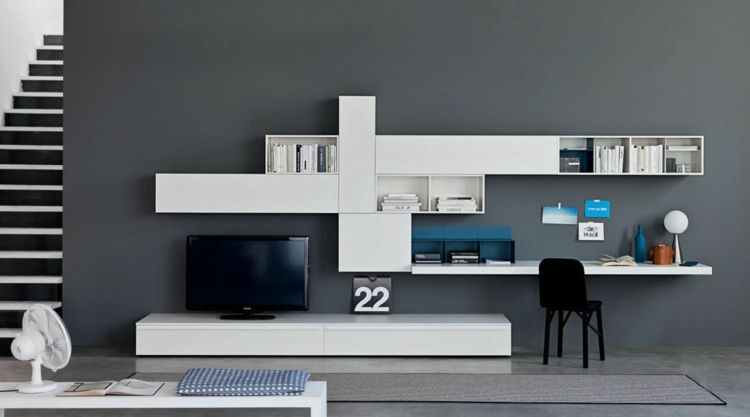 coin bureau blanc laqué, meuble tv assorti, peinture murale gris
