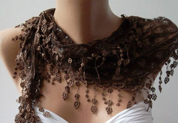 Brown  Elegance  Shawl / Scarf with Lacy Edge by womann on Etsy, $16.00