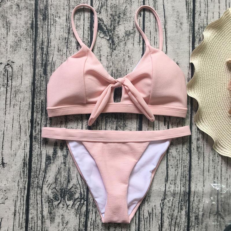 Bow Strap Hollow Out Beach Bikini Set Swimsuit Swimwear