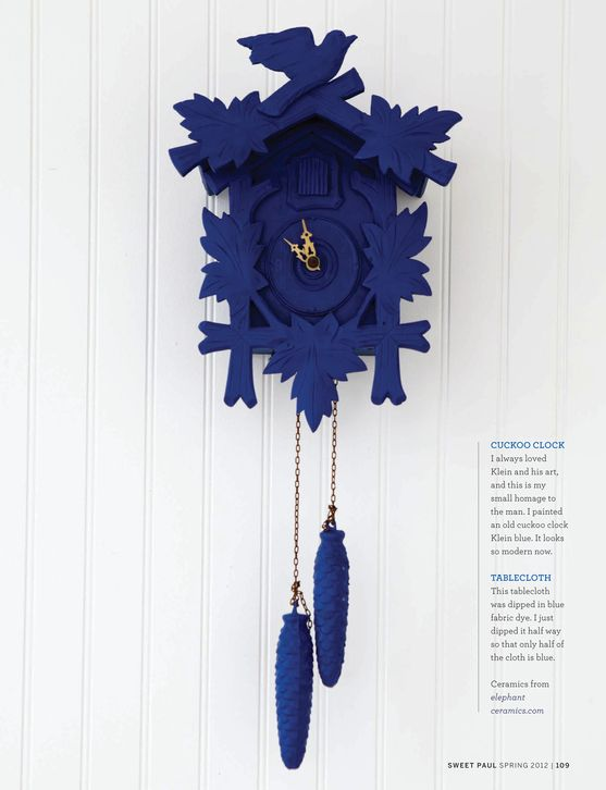 How Striking And Modern Does This Cuckoo Clock Look With A Coat Of Indigo Paint