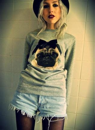 Pug Faux Leather Bow Jumper