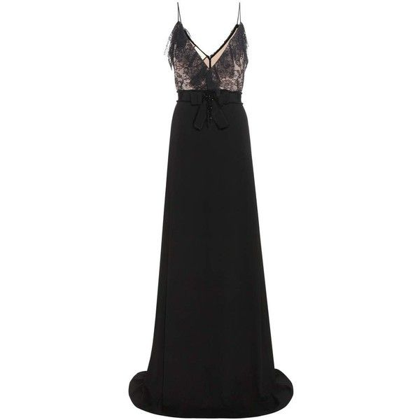 Gucci Crêpe and Lace Gown (30 980 SEK) ❤ liked on Polyvore featuring dresses, gowns, black, cocktail/gowns, cocktail gown, evening cocktail dresses, lace evening gowns, holiday dresses and cocktail dresses