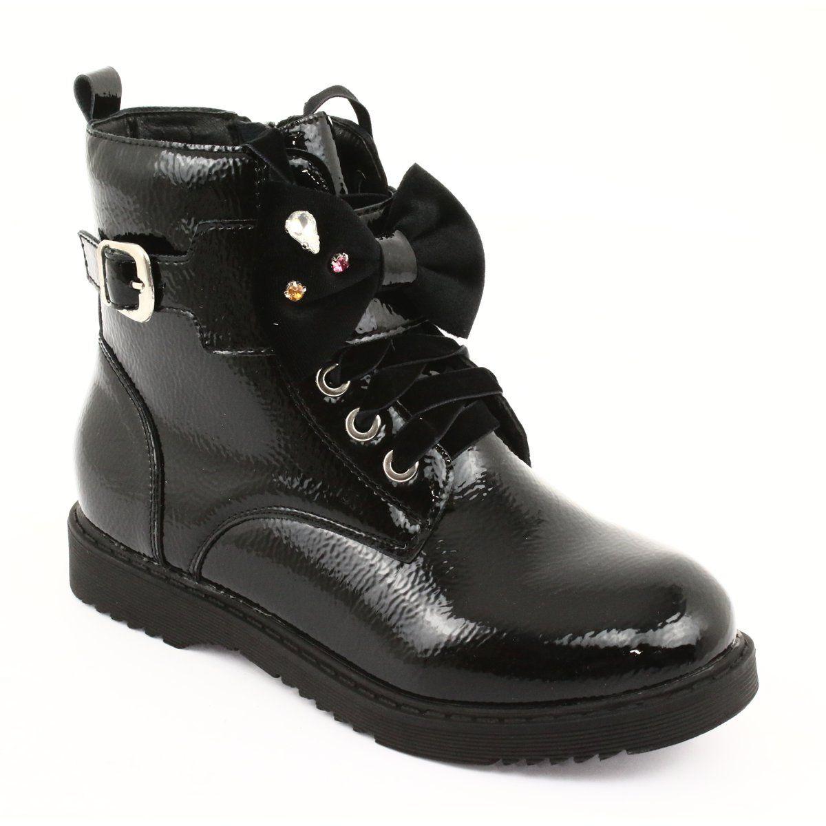 Glany Lakierowane Kokarda Cyrkonie Evento 1432 Czarne Boots Childrens Boots Kid Shoes