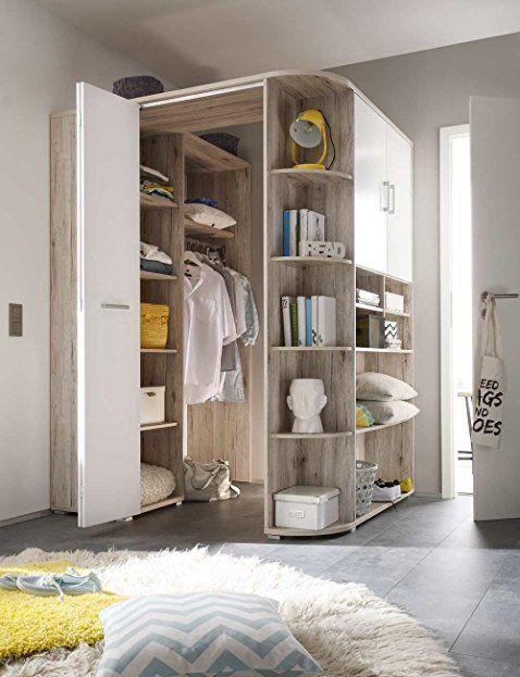 Begehbarer Eckkleiderschrank in Sandeiche-Nachbildung, weiße Falttür - schlafzimmer mit eckschrank