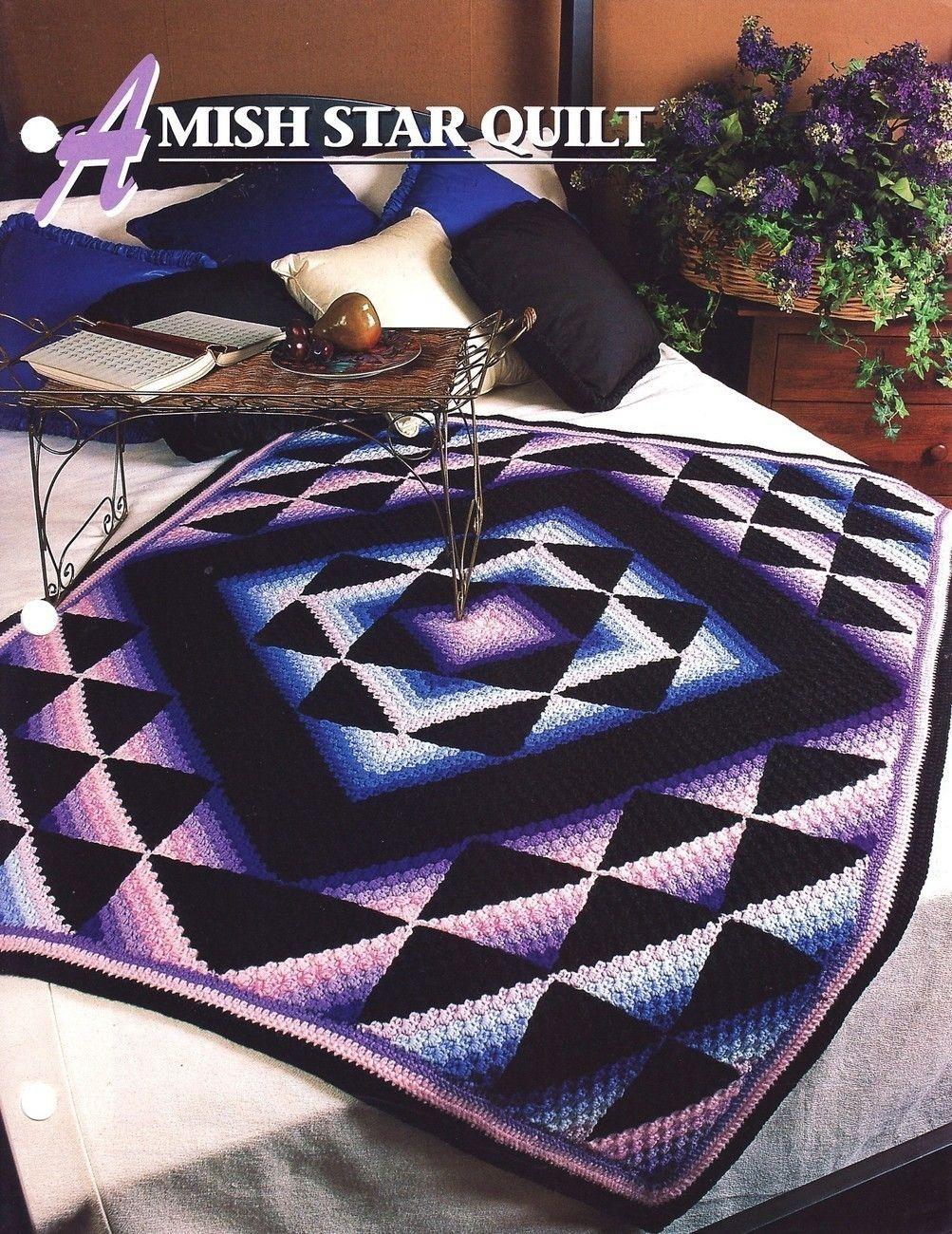 Amish Star Quilt Crochet Pattern Throw Blanket Annies Attic | Manta ...