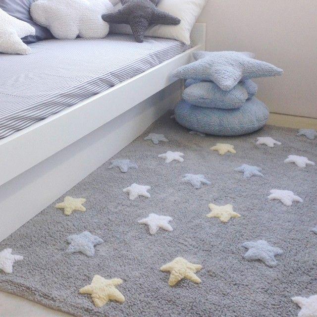 Alfombra lorena canals gris estrellas tricolor azul for Alfombras cuarto bebe