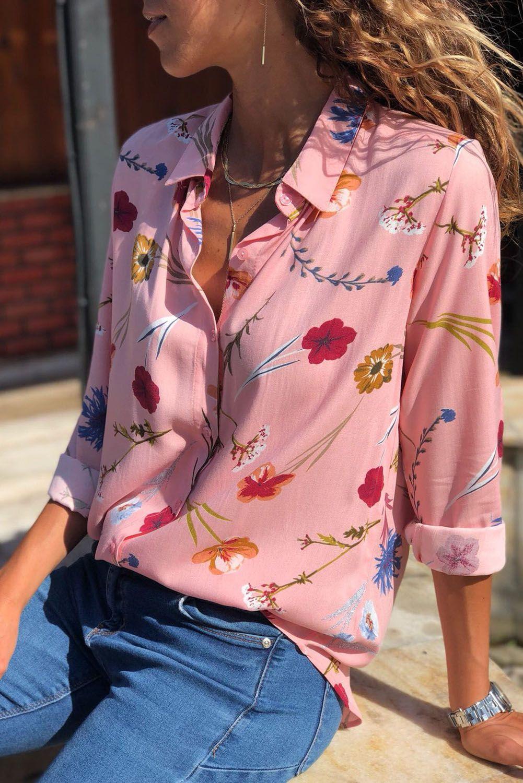 Pink Long Sleeve Floral Print Button Front Shirt Women Long Sleeve Tops Women Blouses Fashion Blouses For Women [ 1500 x 1001 Pixel ]