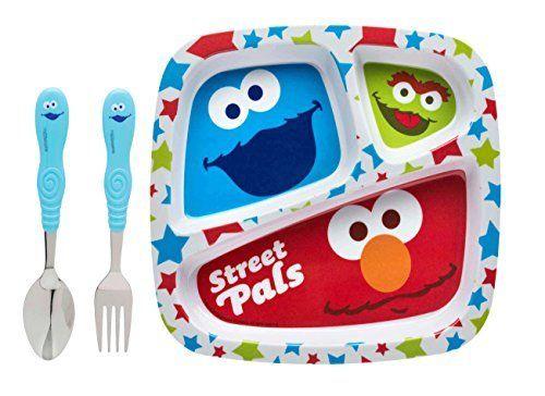 Sesame Street Elmo \u0026 Friends Kids 3pc Mealtime Set! Sesame Street Divided Plate \u0026 Cookie  sc 1 st  Pinterest & Sesame Street Elmo \u0026 Friends Kids 3pc Mealtime Set! Sesame Street ...