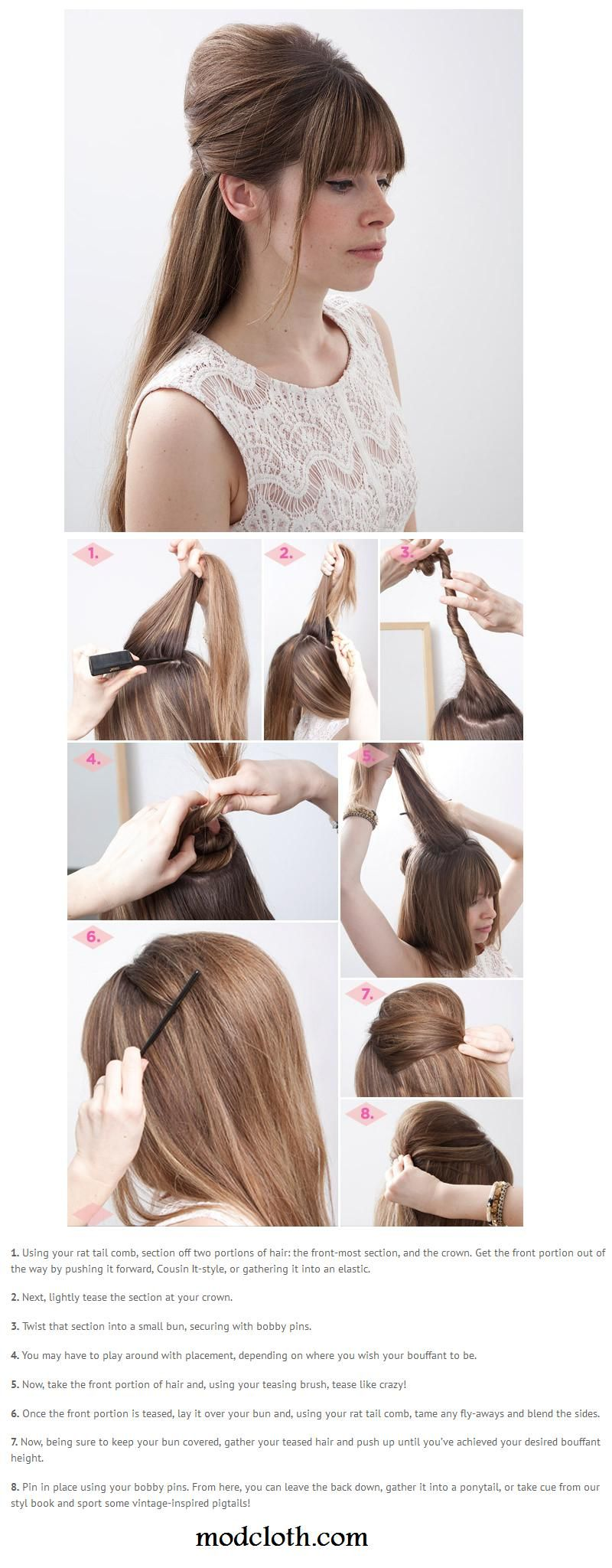 Top long hair tutorials for night out bouffant hair