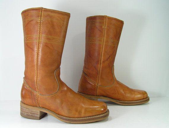4c4d370371a5c campus cowboy boots womens 6 b m camel tan vintage acme leather ...