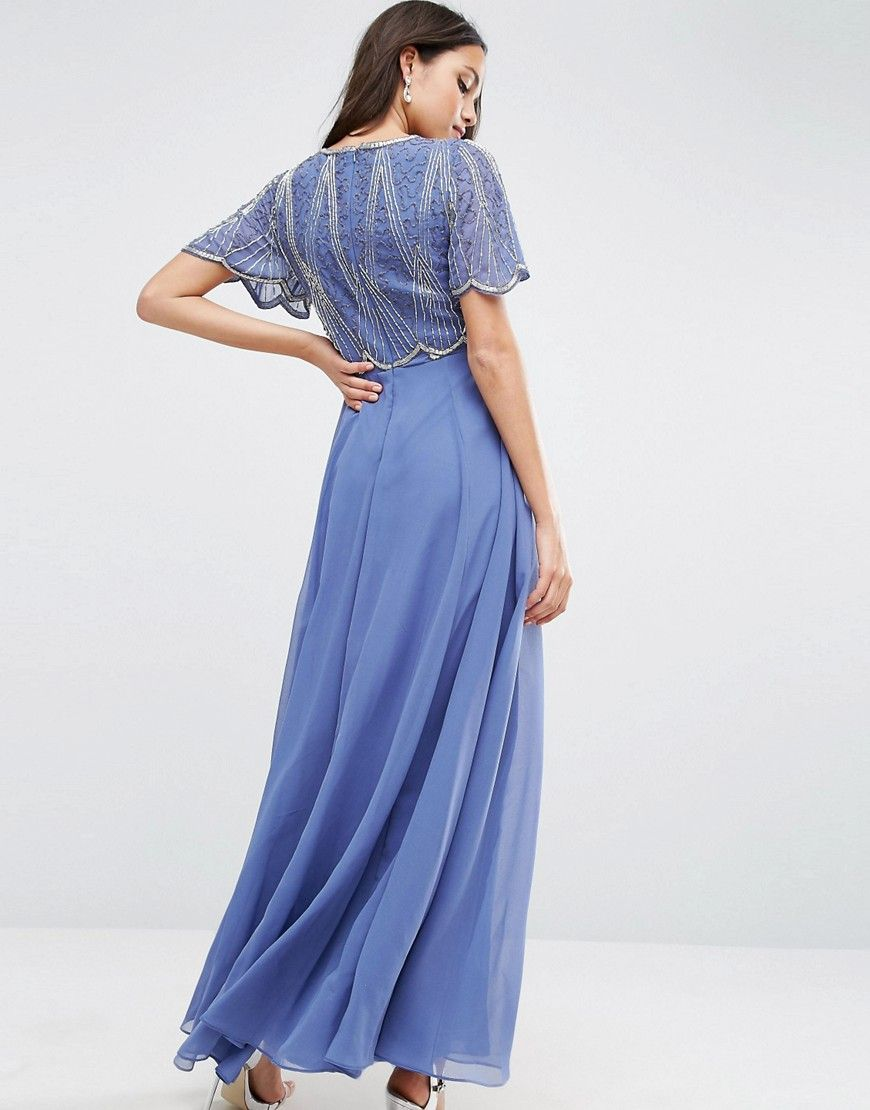 Asos embellished bodice maxi dress with scallop sleeve