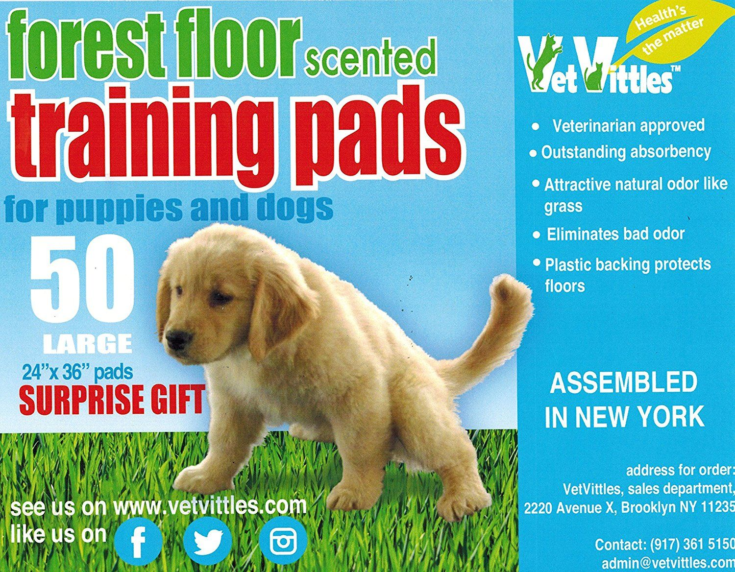 Vetvittles Forest Floor Scented Training Pads For Puppies And Dogs