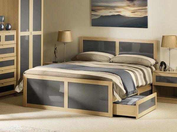 Bed frame Strada Bed Frame in Light Oak and Grey, King
