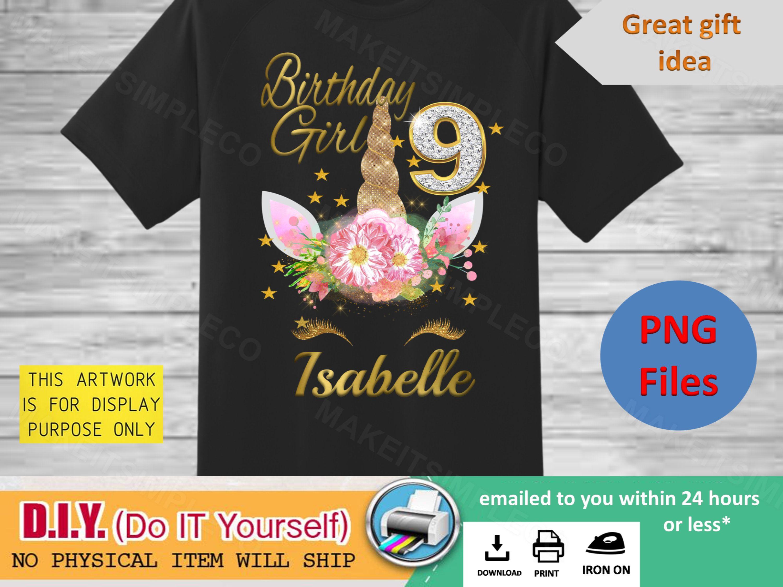 Unicorn Flower Custom Birthday T Shirt Gift Personalizing Name and Age