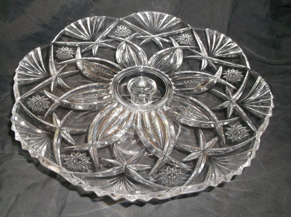 E A P G Crystal Footed Cake Plate by VelsVintage on Etsy & E A P G Crystal Footed Cake Plate by VelsVintage on Etsy | Not Your ...