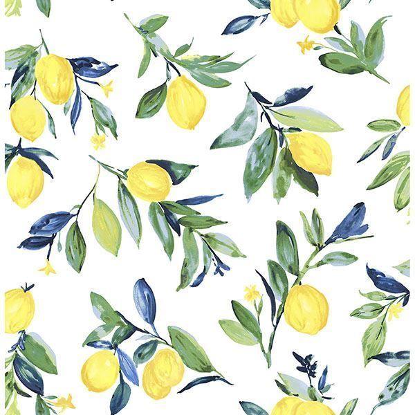 Lemon Drop Yellow Peel Stick Wallpaper In 2021 Brewster Wallpaper Fruit Wallpaper Peel And Stick Wallpaper
