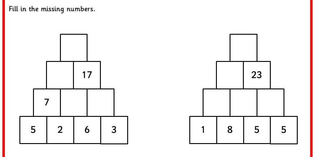 Six Differentiated Maths Pyramid Worksheets From Simple Addition Of